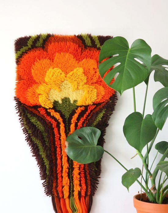 Vintage yarn art latch rug wall hanging 70s