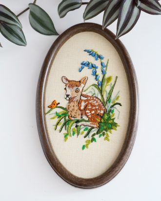 vintage framed embroidery deer