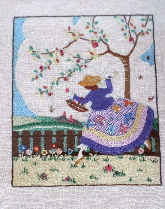 vintage framed embroidery