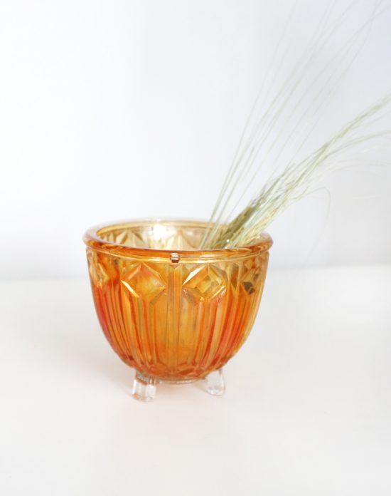 Art Deco orange carnival glass bowl