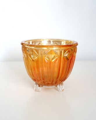 Art Deco orange carnival glass bowl