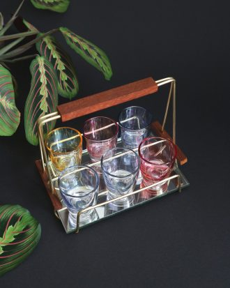 Mid Century Modern barware - shot glasses caddy