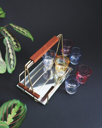 mirrored midcentury barware