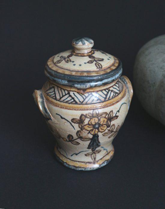 Vintage Olaria de Almancil Algarve lidded tobacco jar