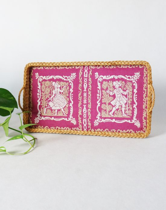 vintage embroidered wicker tray