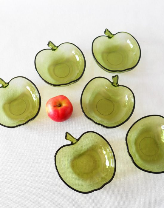 green glass apple bowls
