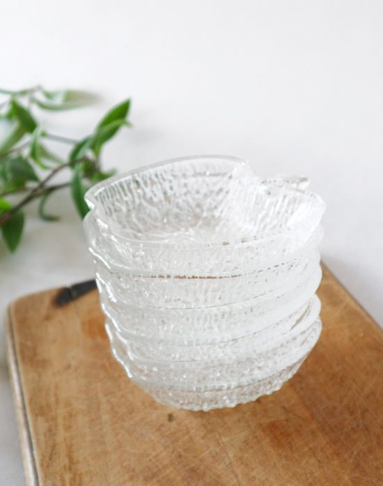 vintage textured glass apple bowls