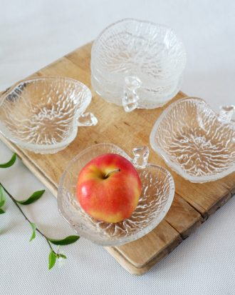 vintage textured glass apple bowls