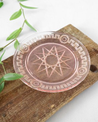 pink pressed glass plate