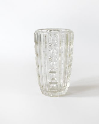 Modernist clear glass vase