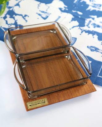 Holmegaard teak and glass snack tray